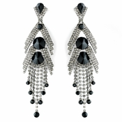 Silver Black Earring Set 1059