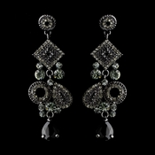 Antique Silver Smoked Black Earring Set 1062