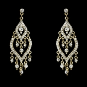 Fabulous Silver or Gold Clear Rhinestone Chandelier Earrings 4329