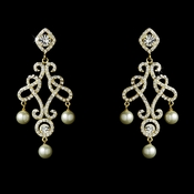 Antique Gold & Ivory Pearl Chandelier Earring E 25136