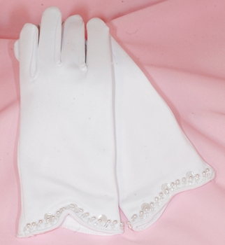 Children's Matte Satin Gloves with Beaded Pearl Accents GL Child 201