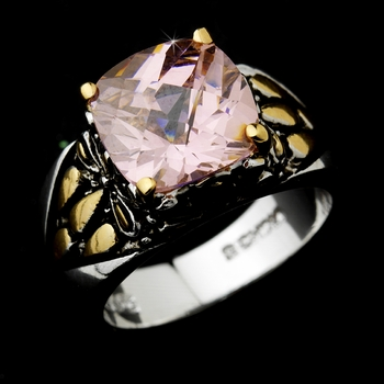Beautiful Designer Inspired Silver Pink CZ Ring 4115