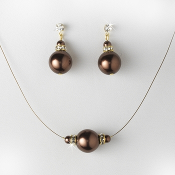 Pearl Necklace Earring Set NE 8369 Brown
