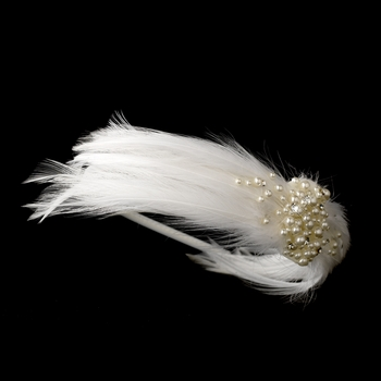 Feather & Pearl Bridal Headband HP 608 (White or Ivory)