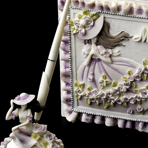 Purple 'Sweet 15' Girl Guest Book & Pen Set