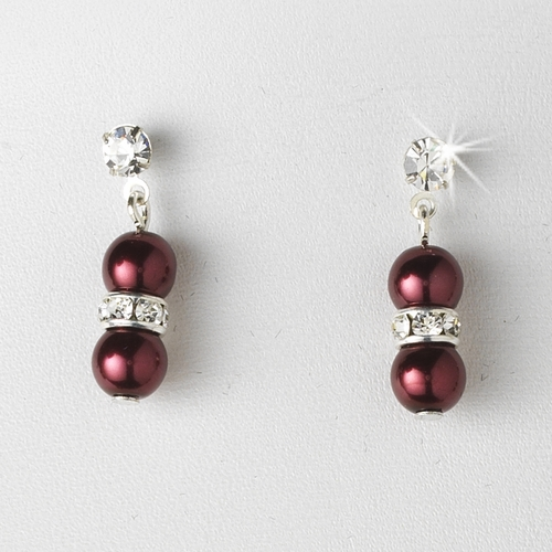 Necklace Earring Set NE 206 Burgundy