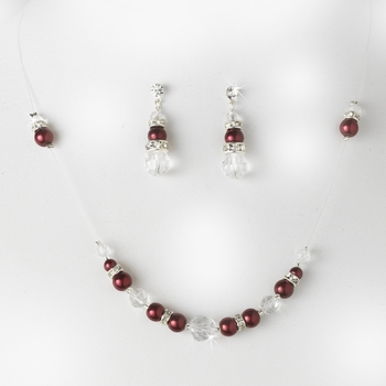 * Necklace Earring Set NE 230 Burgundy Clear