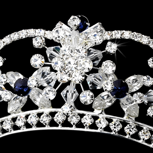 Sparkling Rhinestone & Swarovski Crystal Covered Tiara with Navy Accents | Wholesale Accessories Headpieces Tiaras