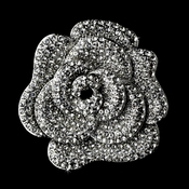 Antique Silver Rhinestone Flower Brooch 113