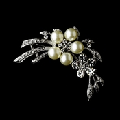 Antique Silver Pearl & Crystal Brooch 119