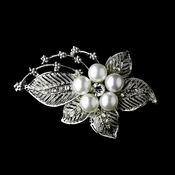 * Antique Silver Rhinestone with White Pearl Brooch 126