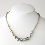 * Smoked AB Silver Clear Necklace 7618