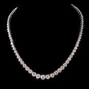 Cubic Zirconia Clear Necklace 3634 (Silver or Gold)