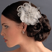 * Silver Feather Fascinator Clip with Brooch Pin 8106