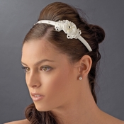 Ivory Bridal Headband with Flower Side Accent HP 8392