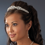 Silver and White Pearl Bridal Tiara HP 8240
