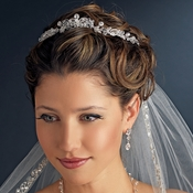 * Silver Clear Crystal & Rhinestone Tiara Headpiece 8430