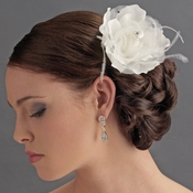 Lovely White Flower Hair Clip w/ Feathers & Clear Rhinestones 8387