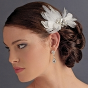 Elegant White Feather Hair Clip Adorn in Pearls Crystals & Rhinestones - Clip 8402