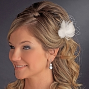 Feather Fascinator with Swarovski crystals & Veil Accent Bridal Hair Pin 123