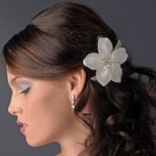* Flower Feather Accented Bridal Hair Pin 115 Ivory or White