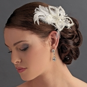 * Silver Plated Flower & Ivory Feather Fascinator Clip 8396