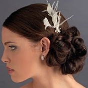 * Ivory Feather Rhinestone Swarovski Pearl Hair Pin Fascinator - Pin 113