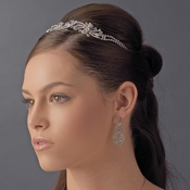 Floral Rhodium Flower Rhinestone Spray Headpiece - HP 8413 Silver