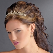 * Charming Gold Clear Crystal Tiara Headpiece 9836