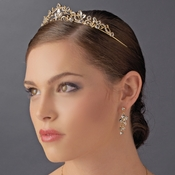 Light Gold Clear Tiara Headpiece 8312