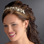 Gold Ivory Rum Pink Headpiece 9842