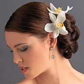 Elegant Delicate White Orchid Flower Hair Clip - Pin 907 White