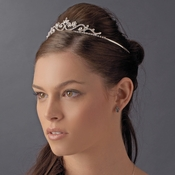 Silver, Clear Stone, and Faux  Pearl Tiara HP 6240