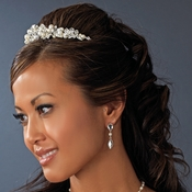 Silver and Ivory Pearl Bridal Tiara HP 8236