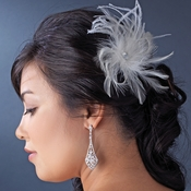 * White Bridal Feather Hair Fascinator Clip 440 with Brooch Pin
