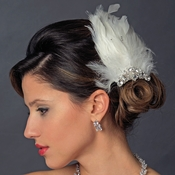Silver Ivory Feather Fascinator Hair Clip 1138