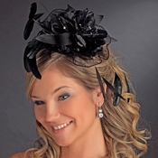 Black Feather & Rhinestone Flower Fascinator Hair Clip 1772