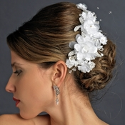 Fabric Flower Rhinestone Clip 1171 White or Ivory