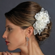 Crystal Rhinestone & Fresh Water Pearl Flower Organza Hair Clip 3701 Ivory