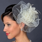 Silver Ivory Feather Fascinator Hair Clip 1141