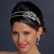 2 Row Crystal Side Accented Bridal Headband 424 (Antique )