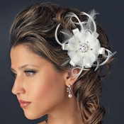 Rhinestone Feather Ribbon Fascinator Clip 2531 with Brooch Pin (White or Ivory)