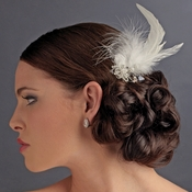 Feather Tail Bridal Hair Comb with Floral Rhinestone Accent - Comb 8403 White or Ivory