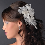 Beautiful Feather Fascinator Bridal Flower Comb or Clip 441 White or Ivory