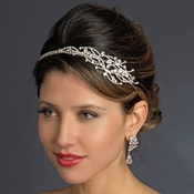* Antique Silver Clear Rhinestones Side Accented Headband Headpiece 861