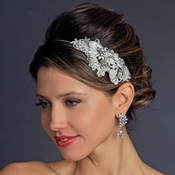 Ivory Side Accented Crystal Flower Headband HP 946