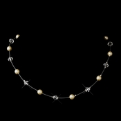 Silver Ivory Illusion Czech Glass Pearl & Swarovski Crystal Bead Necklace 2031