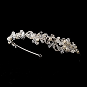 Silver Clear Crystal & Pearl Side-Accented Heandband Headpiece 902