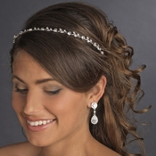 Silver Clear Crystal Bridal Headband HP 1002