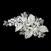 Silver Plated Floral Bridal Comb 8111